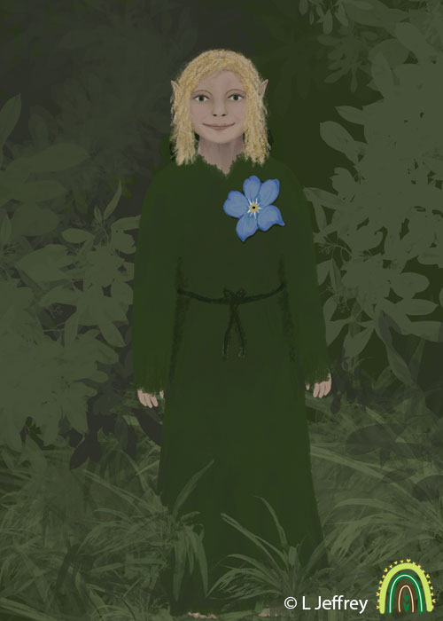 A little hob fairy stood within grass and plants artwork